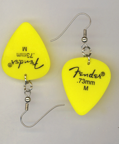 yellow fender gp earrings