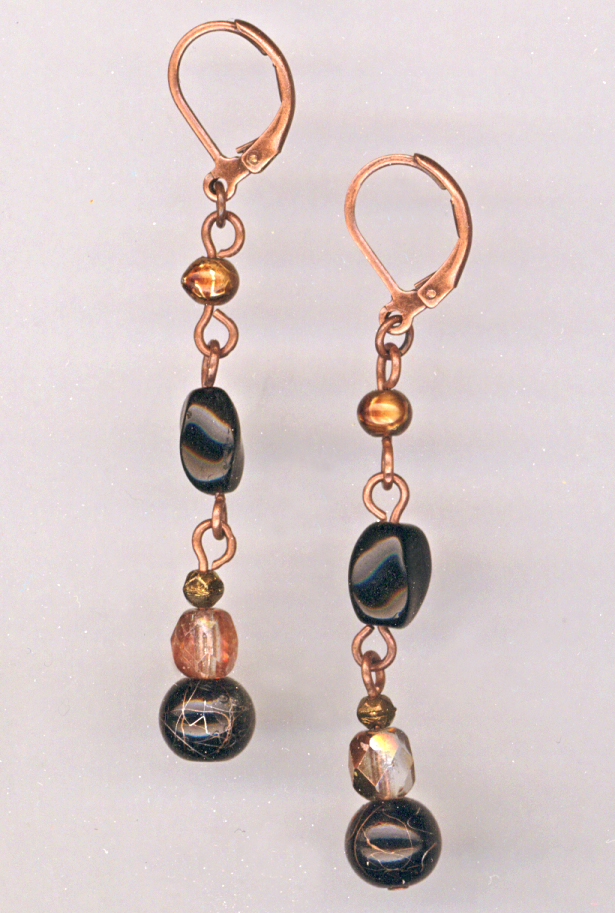 golden tiger copper earrings