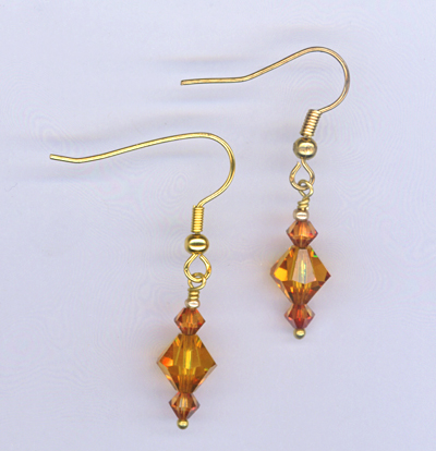 gold topaz crystal earrings