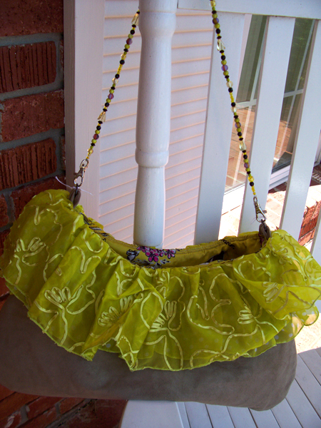 yellow organza polka dot ruffled handbag