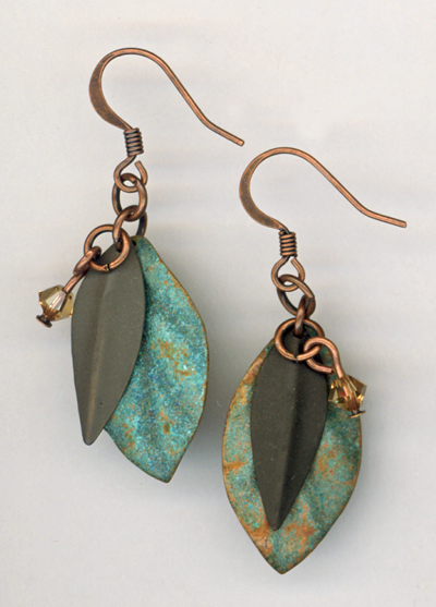 blue patina leaves metal earrings