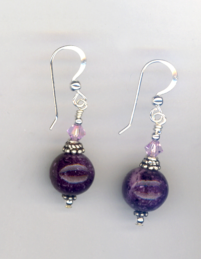 purple crystal stack earrings