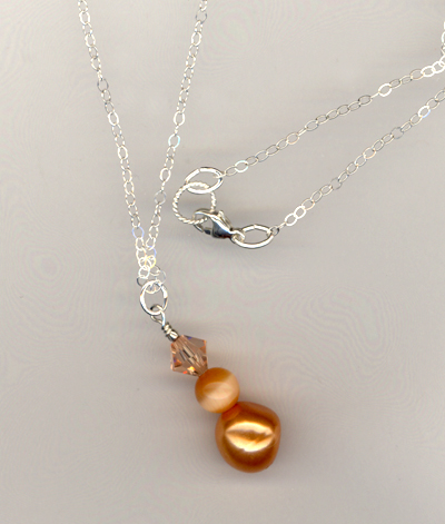 orange pearl cat's eye crystal chain necklace