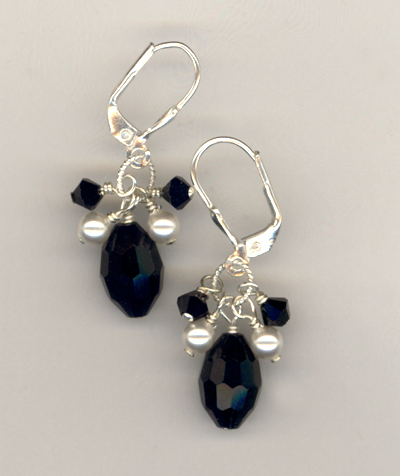 Hope black white crystal pearl LB earring