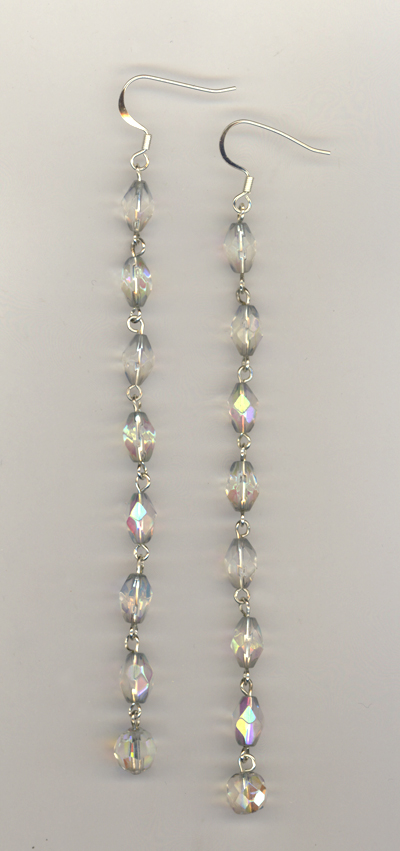 crystal super long glam earrings