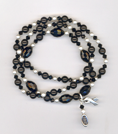 Hope Black White Crystal Pearl Stretchy Bracelets