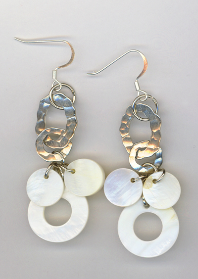 Mother of pearl Silver Chain Chandelier Earrings