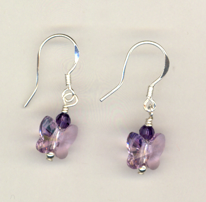 Purple Butterfly Swarovksi Crystal Earrings