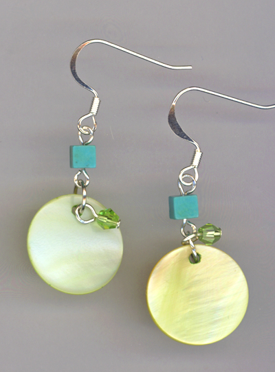 Peridot shell blue green earrings