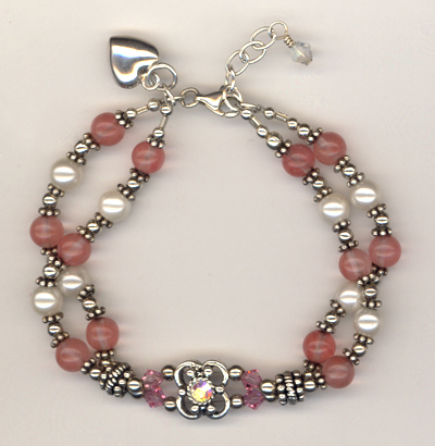 Be Still My Heart Pearl Rose Quartz Bracelet