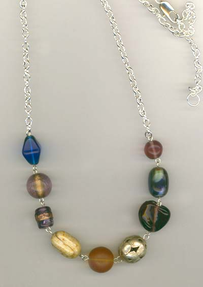 multi colored beaded 2 necklace