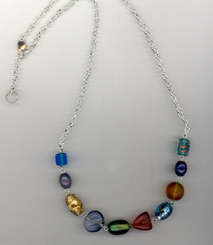 multi colored beaded 3 necklace