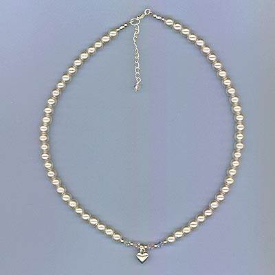 White Glass Pearl Necklace with Heart