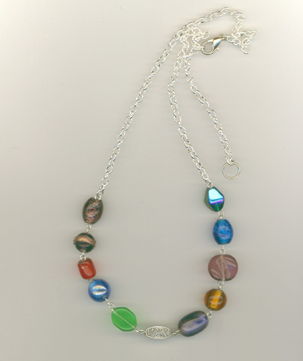 multi colored beaded 4 necklace