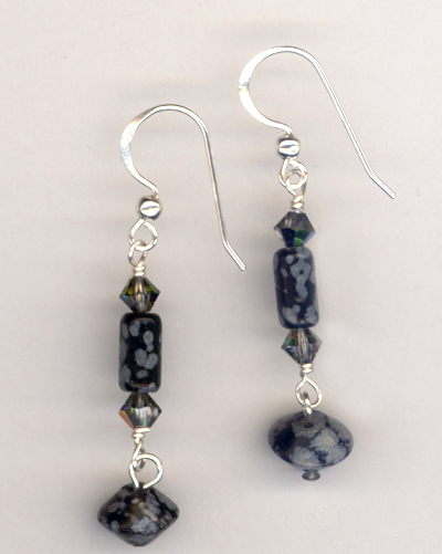 Snowflake Obsidian Gemstone Earrings