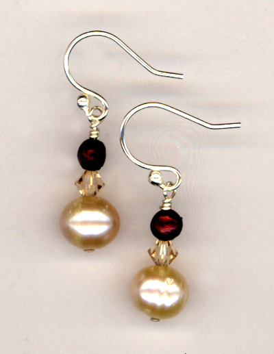 Cranberries & Creme Pearl Earrings