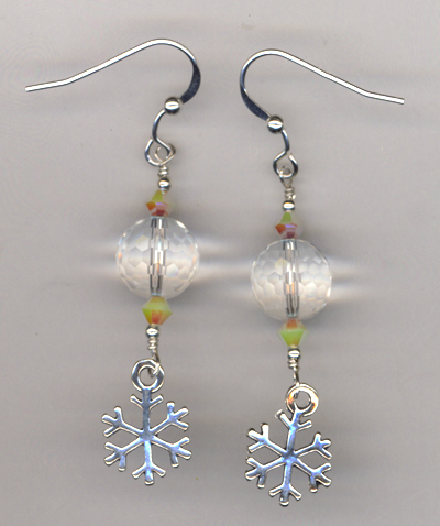 Let It Snow! Crystal snowflake Charm Earrings