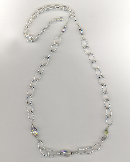 Sterling & Crystal Chain Necklace