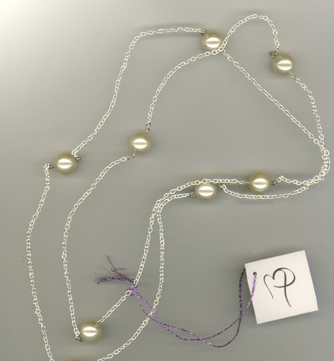 Creamy White Glass Pearl Silver Chain Necklace