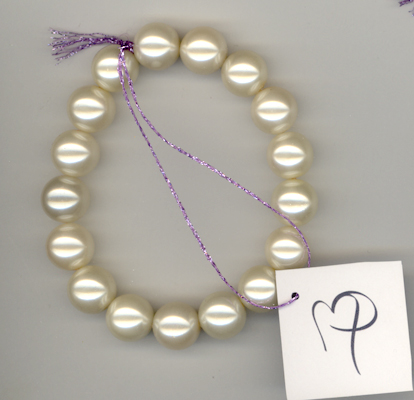 Creamy White 12mm Glass Pearl Bracelet