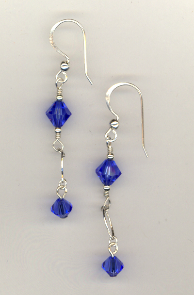 Sapphire Evening Crystal Earrings