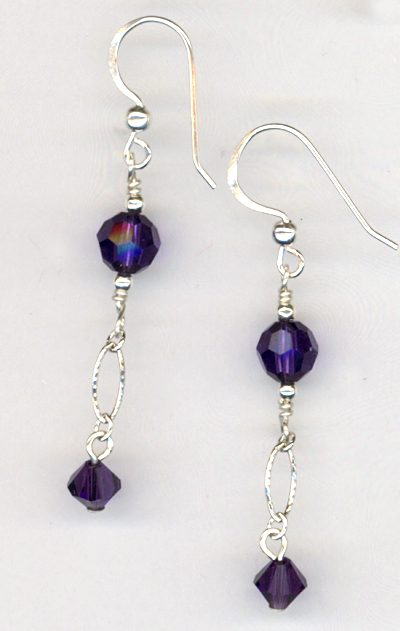 Purple Velvet Evening Crystal Earrings