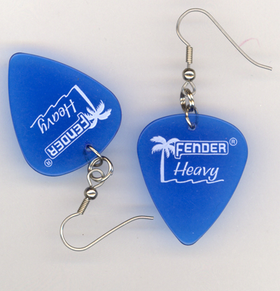 Aqua Blue Fender Palm Guitar Pick earrings
