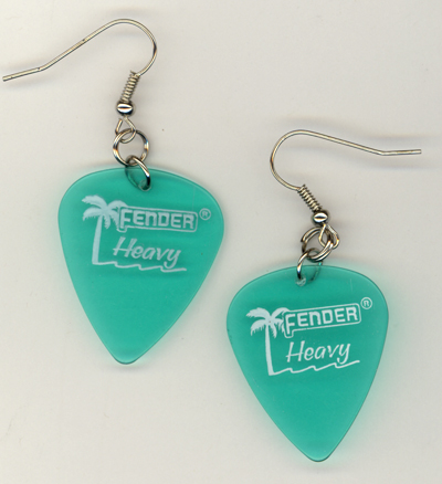Fender Grren Palm Guitar Pick Earrings