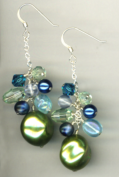 Cool Breeze Green Pearl Cascade Earrings