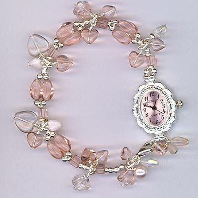 Pretty In Pink Hearts Watch