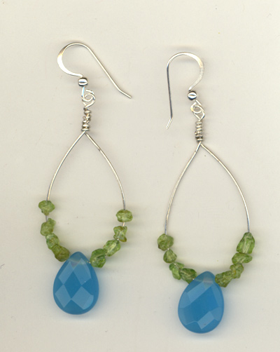 Peridot Aqua Hoop Earrings