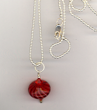 Red Hot Art Glass Crystal Necklace