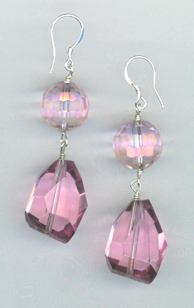 Pink Crystal Quartz Earrings
