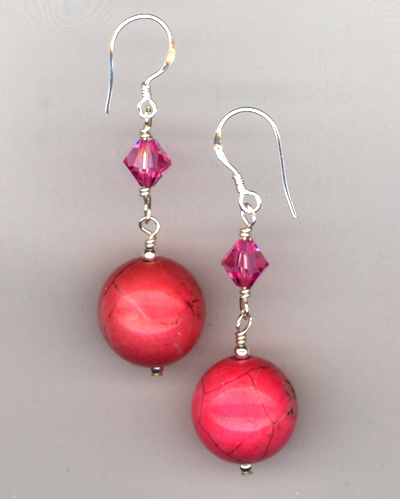 Bubble Gum Pink ~ Turquoise Earrings