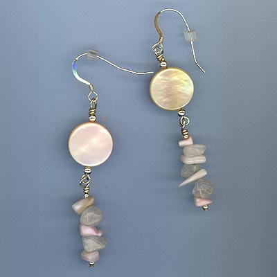 pink MOP & rose quartz earring