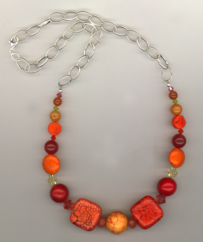Orange Slice Gesmtone Necklace