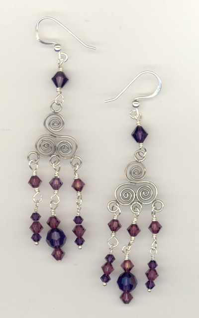 Bali Chandelier Purple Swirl Earrings