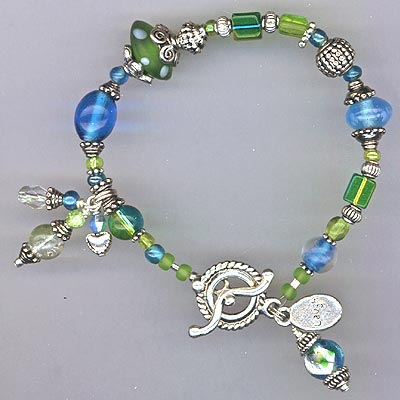 Whimsy Lime Green & Aqua Blue Bracelet