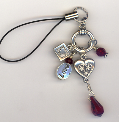 Heart's of Love Cell Phone Charm