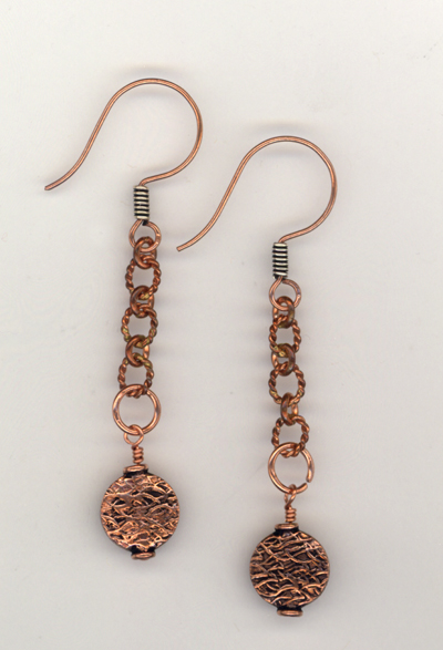 Copper Textured Chain Earrings