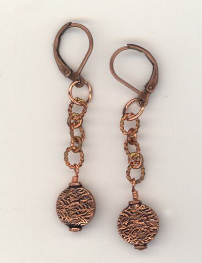 Copper Textured Chain 2 Earrings