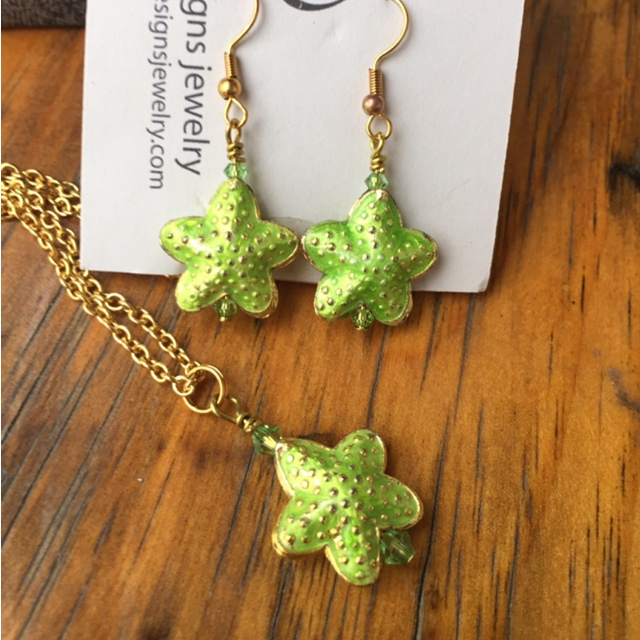 Summer green starfish jewelry set