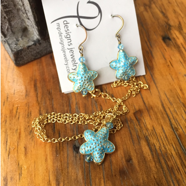 Summer Starfish Blue Gold Cloisonne' Earrings