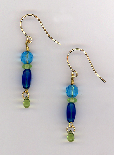 Triple Delight ~ Green/Blue Gold Earrings