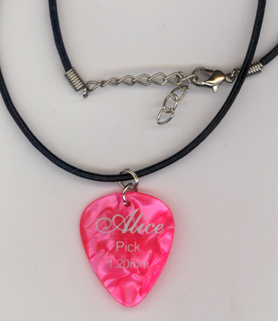 Pink Alice Pearl Guitar Pick Necklace