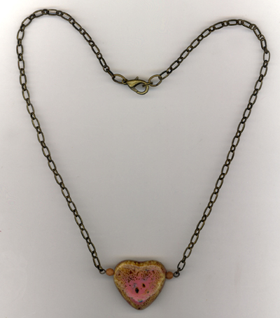 Ceramic Pink Heart Chain Necklace