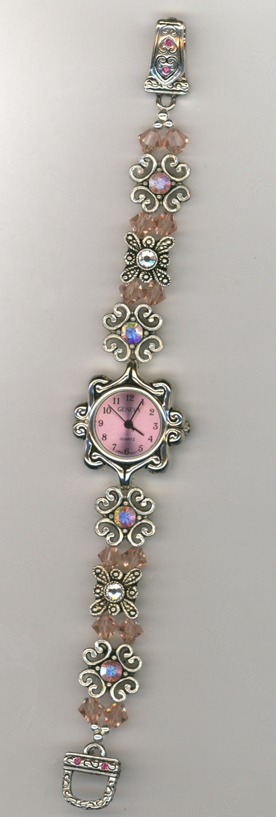 Swaroski Crystal Pure Allure Stretchy Beaded Pink Watch