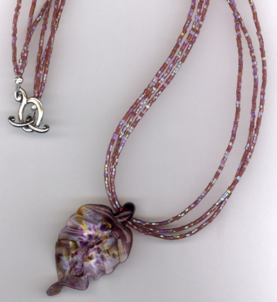 Purple Leaf Art Glass Necklace