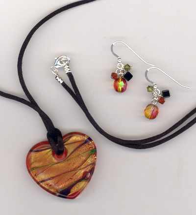 Flaming Heart Art Glass jewelry Set
