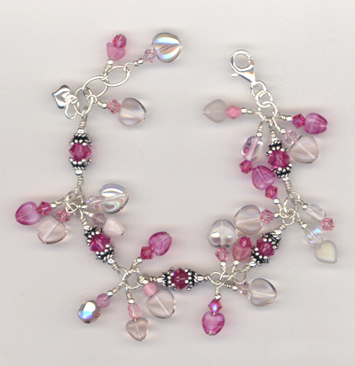 Pretty Pink Rose Hearts Charm Bracelet